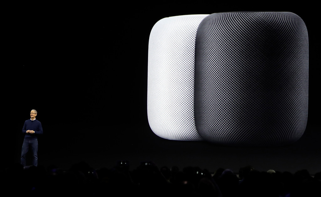 . Apple CEO Tim Cook introduces the HomePod speaker during an announcement of new products at the Apple Worldwide Developers Conference Monday, June 5, 2017, in San Jose , Calif. (AP Photo/Marcio Jose Sanchez)