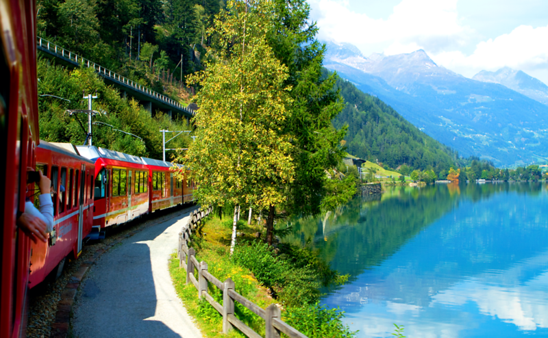 """The Bernina Express"", Italian Alps to the Swiss Alps, Switzerland"