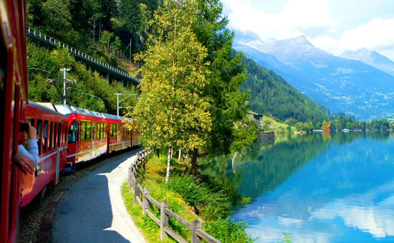 """The Bernina Express"", Italian Alps to the Swiss Alps, Switzerland"