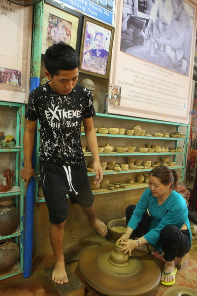 Pottery with foot powered assist