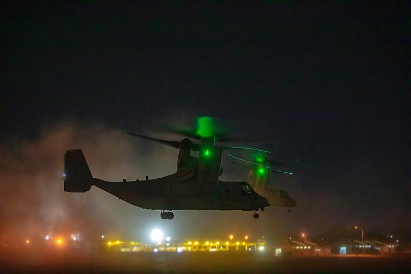 United States Marine Corps Bell Boeing V-22 Osprey's landing at DSU Rockhampton Airport 25-05-2019