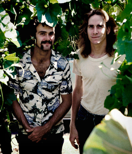 Gerald and Tim in the shrubs. I don't know who took this photo or where. August 1977