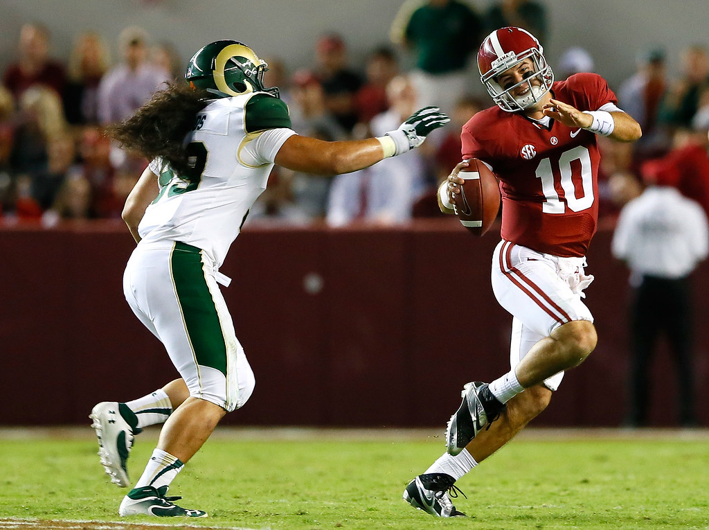 . TUSCALOOSA, AL - SEPTEMBER 21:  AJ McCarron #10 of the Alabama Crimson Tide is pressured by Eli Edwards #99 of the Colorado State Rams at Bryant-Denny Stadium on September 21, 2013 in Tuscaloosa, Alabama.  (Photo by Kevin C. Cox/Getty Images)