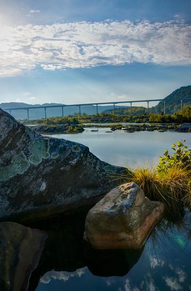 holtwood - puddle on rocks looking at bridge(p).jpg