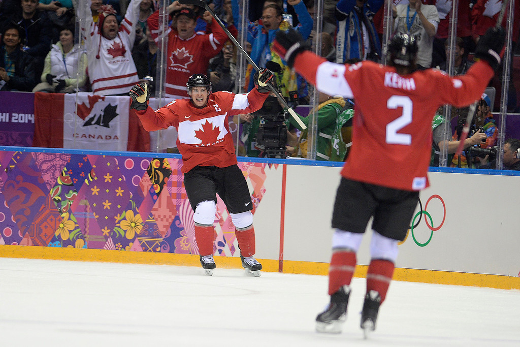 . Sidney Crosby (87) of Canada reacts to scoring against Sweden during the second period of the men\'s ice hockey gold medal game. Sochi 2014 Winter Olympics on Sunday, February 23, 2014 at Bolshoy Ice Arena. (Photo by AAron Ontiveroz/ The Denver Post)