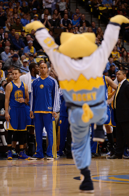 . Players on the Warriors bench watch Nuggets mascot Rocky during a timeout. The Denver Nuggets took on the Golden State Warriors in Game 5 of the Western Conference First Round Series at the Pepsi Center in Denver, Colo. on April 30, 2013. (Photo by John Leyba/The Denver Post)