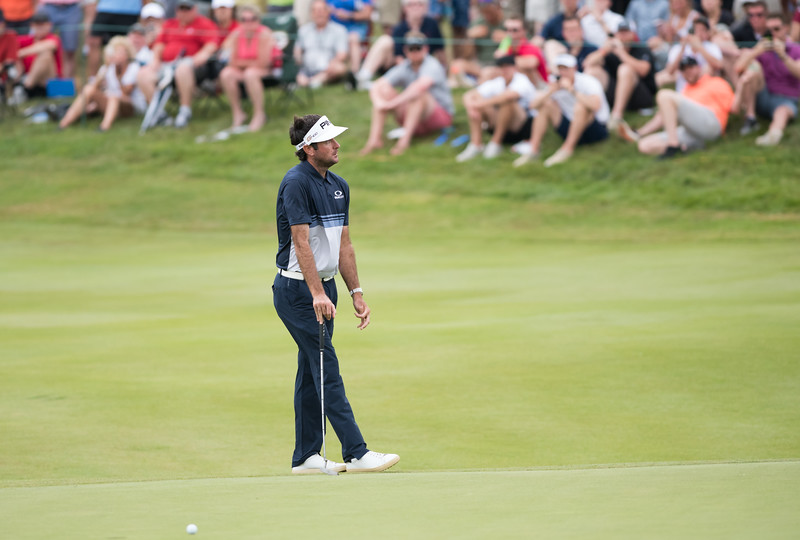 06/24/18  Wesley Bunnell | Staff  The final day of The Travelers Championship at TPC River Highlands in Cromwell on Sunday June 24. Tournament Champion Bubba Watson reacts after missing a putt but would win with a -17.