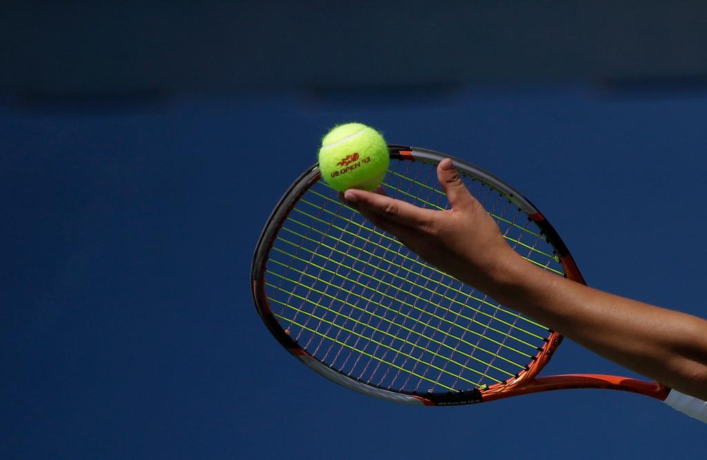 . Su-Wei Hsieh, of Taiwan, serves to Klara Zakopalova of the Czech Republic during the first round of the 2013 U.S. Open tennis tournament Tuesday, Aug. 27, 2013, in New York. (AP Photo/David Goldman)