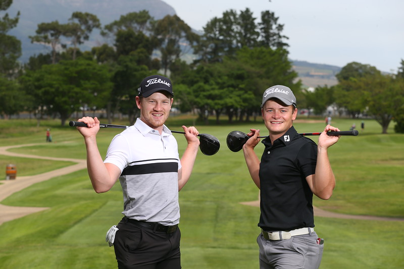 STELLENBOSCH, SOUTH AFRICA - OCTOBER 2: Estiaan and Ruan Conradie during the held at Stellenbosch Golf Club on October 2, 2018 in Stellenbosch, South Africa. EDITOR'S NOTE: For free editorial use. Not available for sale. No commercial usage. (Photo by Carl Fourie/Sunshine Tour)