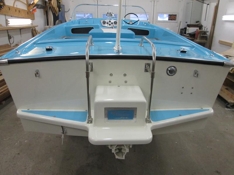 Transom with custom boarding ladder installed.