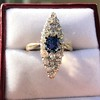 2.93ct Antique Diamond and Sapphire Navette Dinner Ring 16