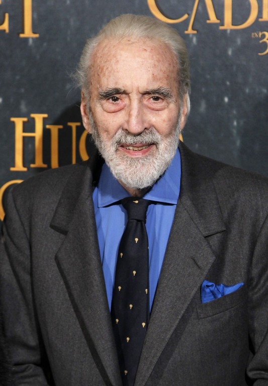 ". US actor Christopher Lee poses prior to the French Premiere screening of the movie ""Hugo\"" directed by US film director Martin Scorsese, on December 6, 2011 in Paris. (FRANCOIS GUILLOT/AFP/Getty Images)"