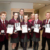 St Pauls High School Bessbrook Vice Principal Jarlath Burns and Presidents Award Co-ordinator Michaela Downey are pictured with pupils,Miceal McNamee, Anna Carr, Louise Kenny, Aimee Mackin and Fergal Connolly who received the Bronze Presidents Award. R1340004