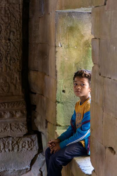 A young boy in PREAH KHAN.