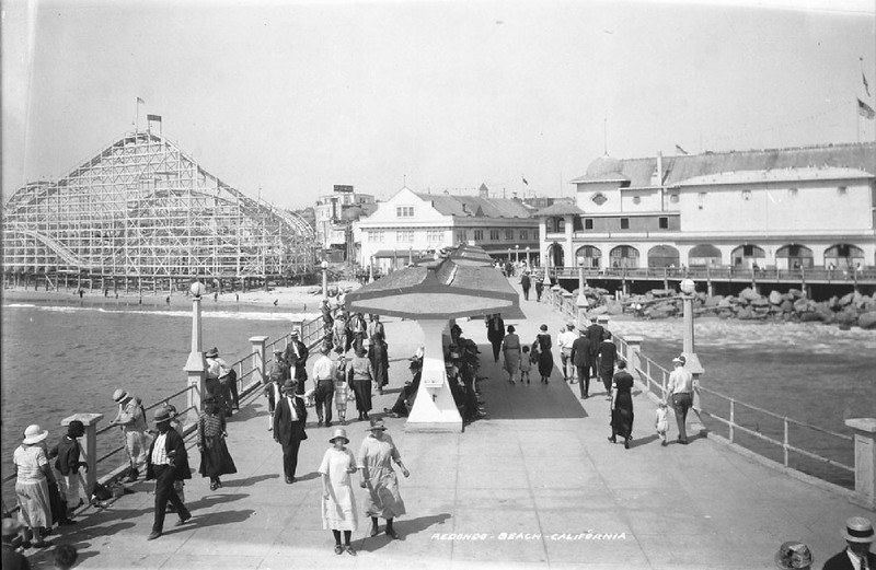 View of the waterfront business and amusement district of Redondo Beach from the Horseshoe pier, ca.1925