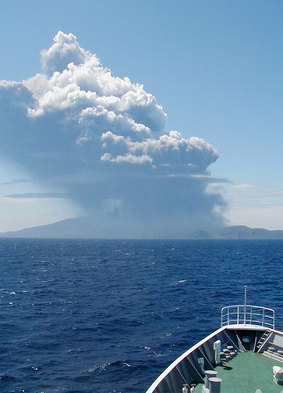 . This handout picture taken and released by the Japan Coast Guard on May 29, 2015 shows smoke rising from Mount Shindake on Kuchinoerabu island in Kagoshima prefecture of Japan\'s southern island of Kyushu. A violent volcanic eruption in southern Japan forced the evacuation of an island, as a huge column of ash was shot high into the sky. AFP PHOTO / JAPAN COAST GUARD/AFP/Getty Images