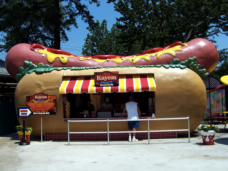 More views of the hot dog themed Hot Dog Stand, later in the day.