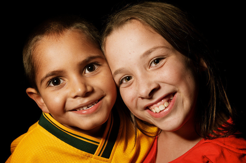 Indigenous Australian Boy with a Caucasian girl