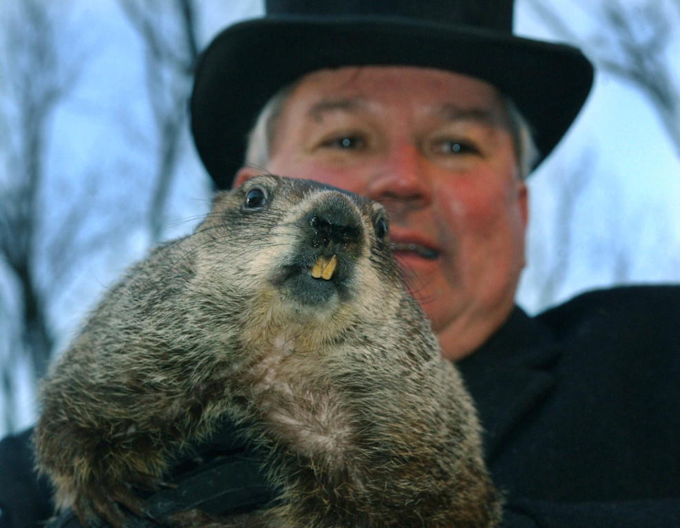 . Handler Bill Deeley holds Punxsutawney Phil, their weather predicting groundhog after the reading of the proclamation that there would be six more weeks of winter after seeing his shadow in Puxsutawney, Pa. on Wednesday, Feb. 2, 2005  (AP Photo/Keith Srakocic)