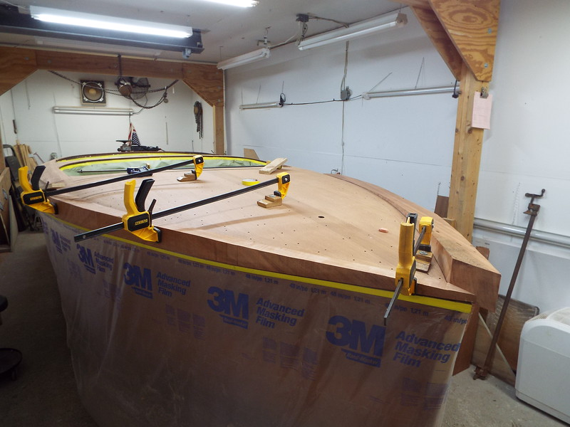 Starboard cover board clamped so the port cover board can be fit.
