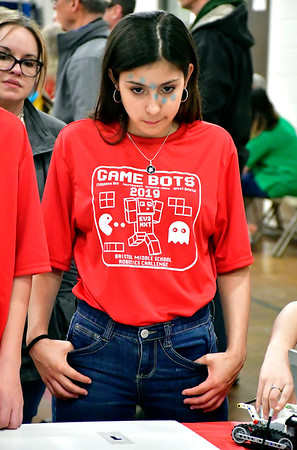 4/18/2019 Mike Orazzi | Staff Arianna Pelot, a member of the Northeast Middle School &quote;TSA&quote; Technology Students Alliance during the Bristol Middle School Robotics Challenge Thursday.