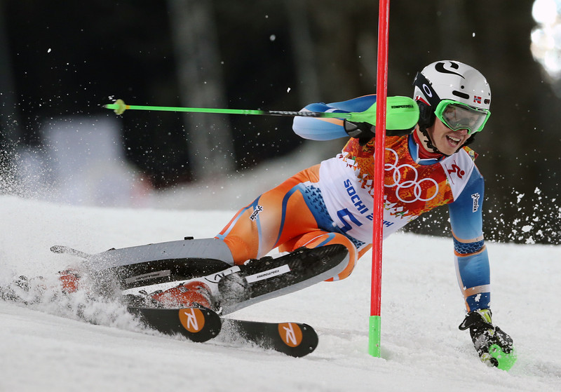 . Norway\'s Henrik Kristoffersen passes a gate in the second run of the men\'s slalom to win the bronze medal at the Sochi 2014 Winter Olympics, Saturday, Feb. 22, 2014, in Krasnaya Polyana, Russia. (AP Photo/Luca Bruno)