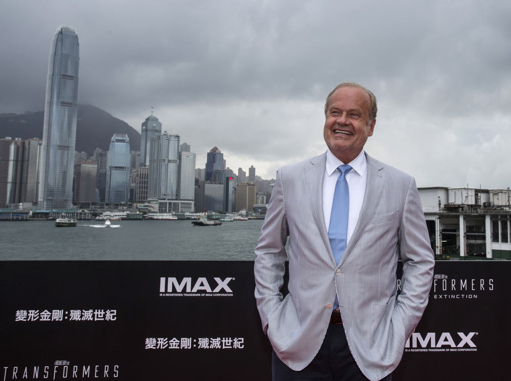 ". Kelsey Grammer arrives at the worldwide premiere screening of ""Transformers: Age of Extinction\""at the  on June 19, 2014 in Hong Kong. (Photo by Jerome Favre/Getty Images for Paramount)"