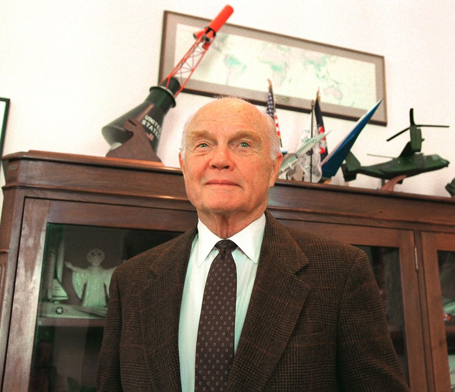 . Sen. John Glenn, D-Ohio, poses in his Capitol Hill office Tuesday, Feb. 18, 1997. Glenn, 75, has reportedly decided not to seek a fifth term and will announce his intention to retire from the Senate later this week. He will make the announcement Thursday, on the 35th anniversary of his historic space flight as the first American to orbit Earth, at his alma mater, Muskingum College. (AP Photo/Joe Marquette)