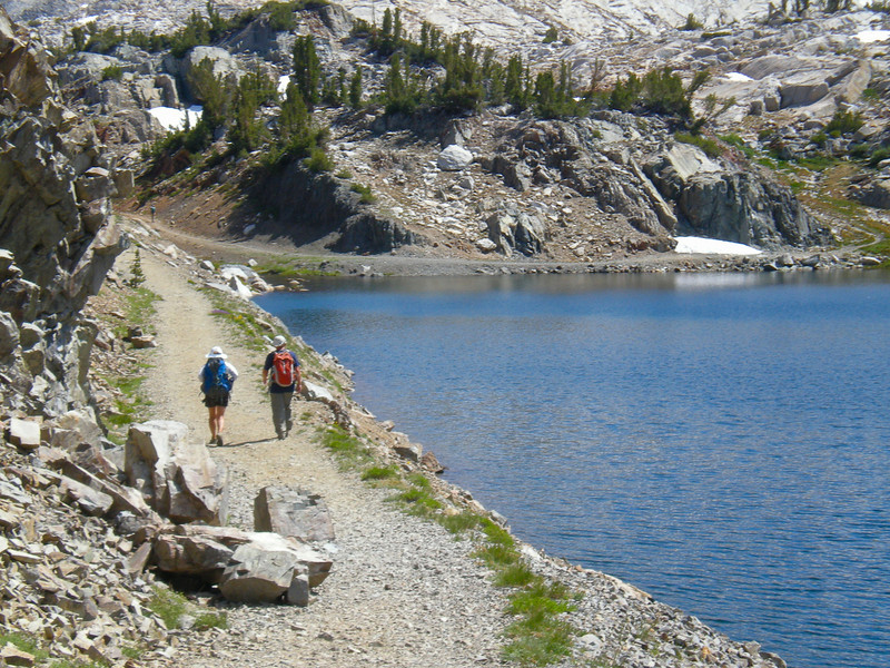 Trail by the lake is wide as goes to the Hess (Tungsten) Mine above Steelhead Lake.