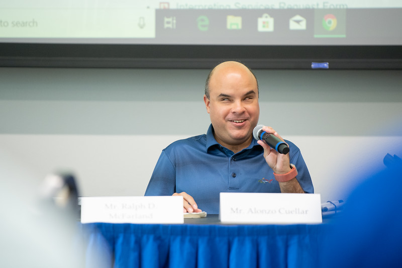 Alonzo Cuellar introduces himself during the Coffee and Conversations with Disabilities Services Workshop in the University Center Jetty Room.