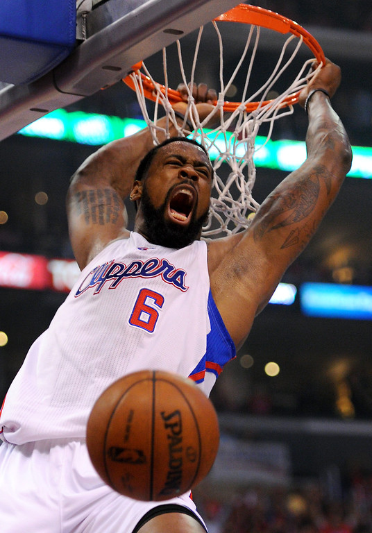 . Clipper center DeAndre Jordan slams home a dunk against the Thunder, Friday, May 9, 2014, at Staples Center. (Photo by Michael Owen Baker/Los Angeles Daily News)