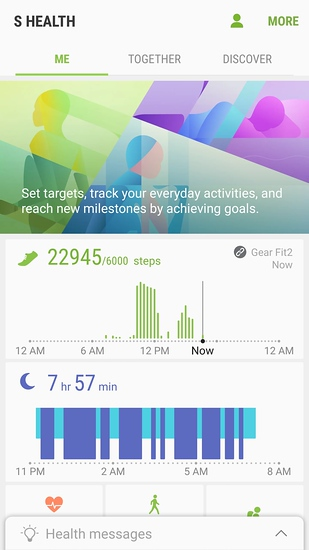 screen shot from Samsung S Health app