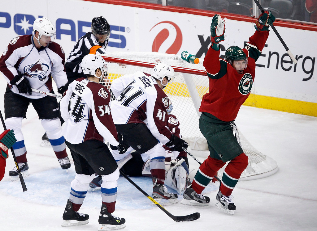 . Minnesota Wild left wing Dany Heatley (R) celebrates after he scores a goal against Colorado Avalanche goalie Semyon Varlamov during the second period of their NHL ice hockey game in St. Paul, Minnesota, January 19, 2013. REUTERS/Eric Miller (UNITED STATES - Tags: SPORT ICE HOCKEY)