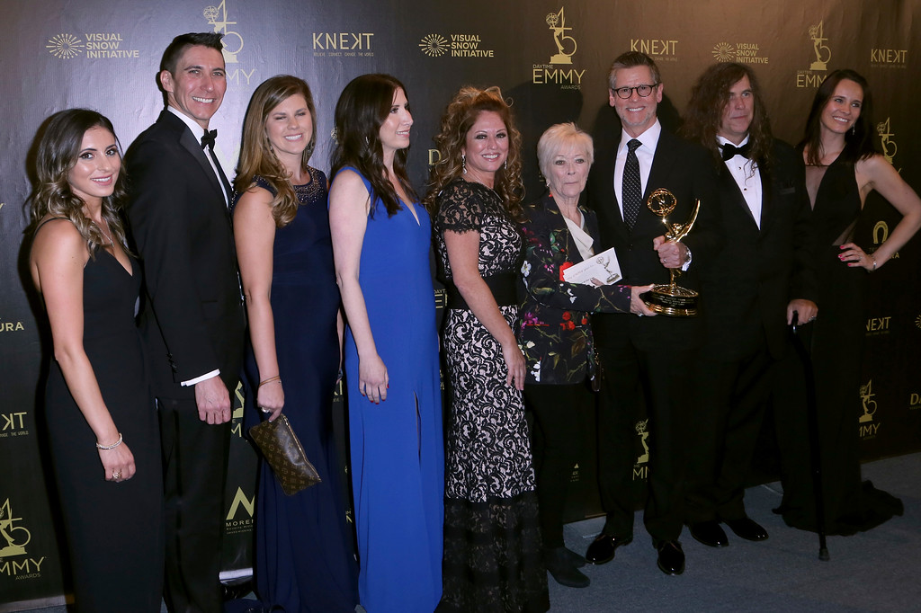 ". The crew of ""Days of our Lives\"" poses in the press room with the award for outstanding directing team for a drama series at the 45th annual Daytime Emmy Awards at the Pasadena Civic Center on Sunday, April 29, 2018, in Pasadena, Calif. (Photo by Willy Sanjuan/Invision/AP)"
