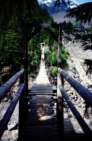 Suspension bridge on a trail near Paradise Valley, Mt. Rainier, Washington. Early 1980's.