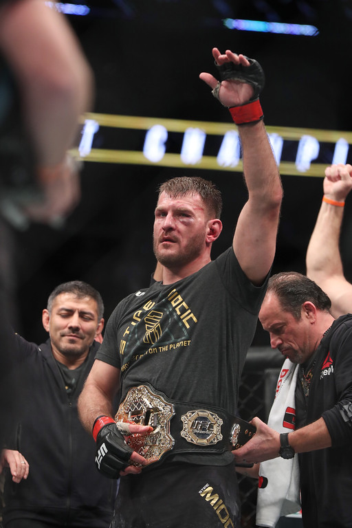 . Tim Phillis - The News-Herald UFC heavyweight champion Stipe Miocic celebrates after defeating Francis Ngannou by unanimous decision in the main event on Jan. 20 in Boston. Miocic became the first heavyweight to successfully defend the belt three consecutive times.