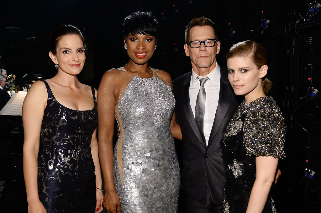 . (L-R) Tina Fey, Jennifer Hudson, Kevin Bacon and Kate Mara pose backstage at the 68th Annual Tony Awards at Radio City Music Hall on June 8, 2014 in New York City.  (Photo by Dimitrios Kambouris/Getty Images for Tony Awards Productions)