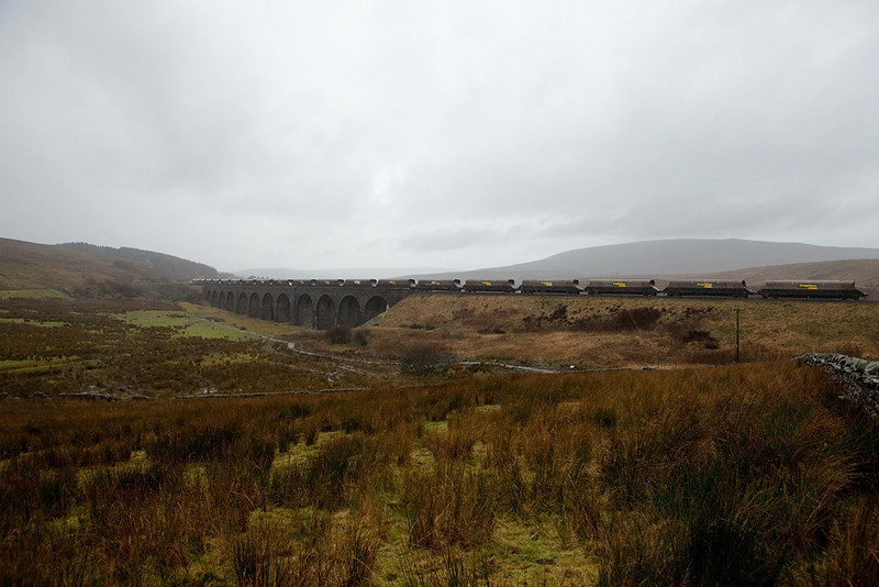 Freightliner coal train headed towards Settle on Moorcock (Dandry Mire) Viaduct.