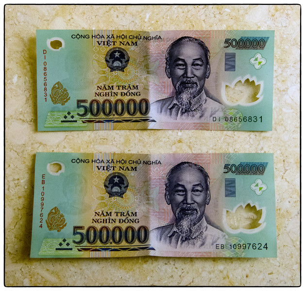 You, too, can be a Vietnamese millionaire. At March 2014 rates, 1,000,000 VND = about $47.50.