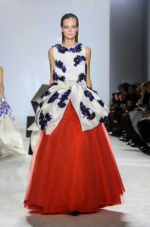 . A model wears a creation for Giambattista Valli\'s Spring-Summer 2014 Haute Couture fashion collection presented in Paris, Monday, Jan.20, 2014.(AP Photo/Zacharie Scheurer)