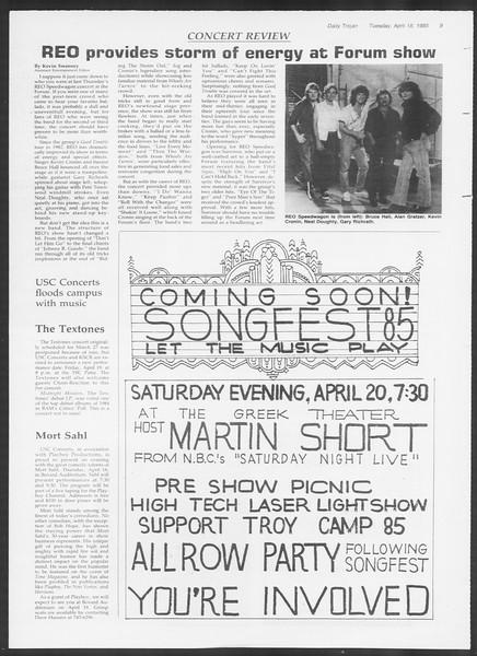 Daily Trojan, Vol. 98, No. 60, April 16, 1985