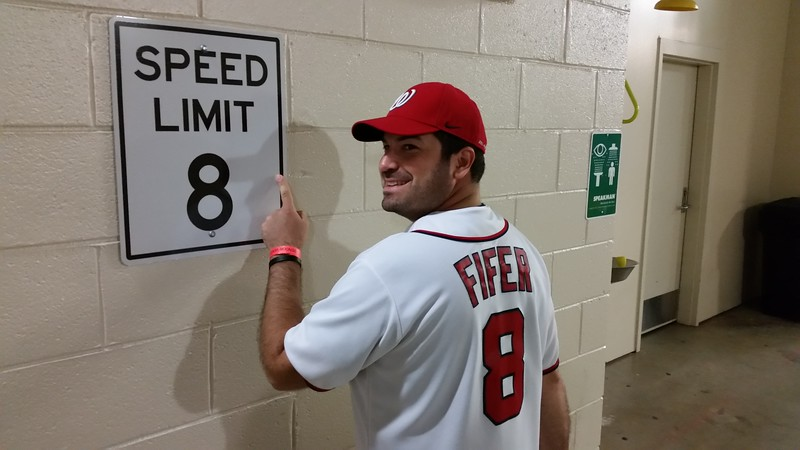 Craig in the Nationals clubhouse.  The speed limit is for golf carts.