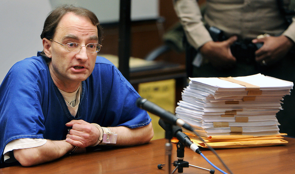 . Christian Karl Gerhartsreiter  brought the trial transcripts with him to court and was hoping that the Judge George Lomeli would allow him to read a lengthly handwritten paper that he wrote, that would prove his innocence. A Los Angeles Superior Court judge Wednesday, August 15, 2013, sentenced a man who once posed as Clark Rockefeller to 27 years to life for murdering John Sohus in 1985. Christian Karl Gerhartsreiter, 52, will return to court next month for a restitution hearing. He has 60 days to file an appeal.(SGVN/Photo by Walt Mancini)
