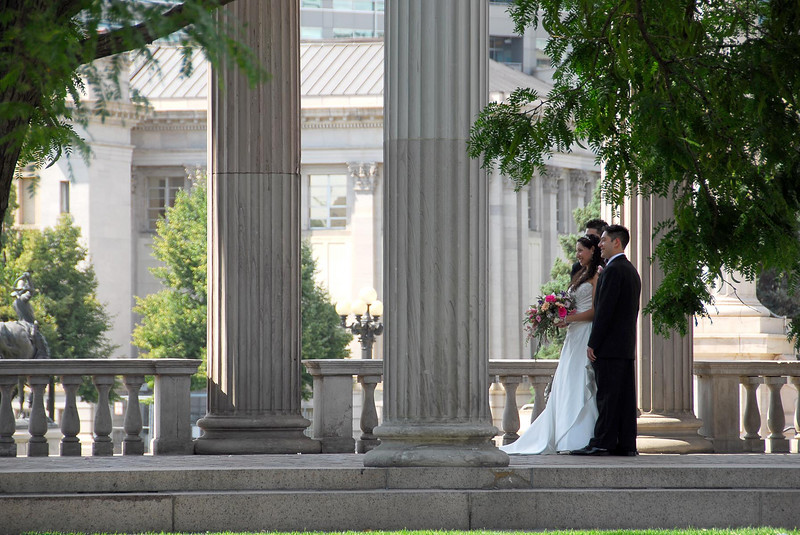 """7/14/07 – Today Logan & Kristen took us downtown to see the sights. I snapped this image from a long distance away but really liked the intimate feeling. It was across the street from the art museum we were going to visit. See more shots from the trip in the gallery named, """"Denver Colorado."""""""