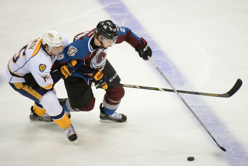 . DENVER, CO - OCTOBER 04 : Nathan MacKinnon of the Colorado Avalanche (29) controls the puck against  Craig Smith of the Nashville Predators (15) in the 3rd period of the game at the Pepsi Center. Denver, Colorado. October 4, 2013. Colorado won 3-1. (Photo by Hyoung Chang/The Denver Post)
