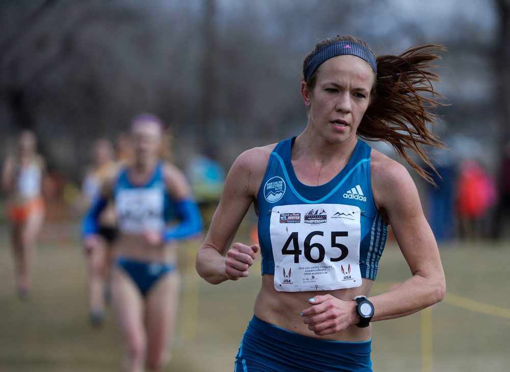 . Amy Van Alstine on course during the Open Women\'s 8K USA Cross Country Championship at the Flatirons Golf Course Saturday afternoon, February 15, 2013. Alstine went on to win the event. (Photo By Andy Cross / The Denver Post)