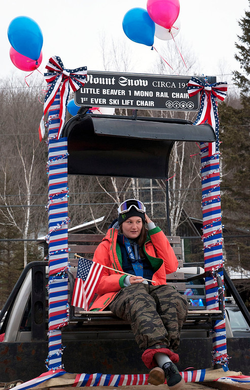 """. Kayla Rice/Reformer                                 Mount Snow athlete and Olympic silver medalist Devin Logan rides in the \""""Devin Day\"""" parade in Dover on Saturday."""