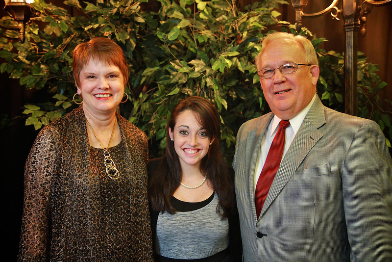 Dr. and Mrs. Terry Fern, Brittany Infranco. Scholarship Luncheon at Gardner-Webb University.