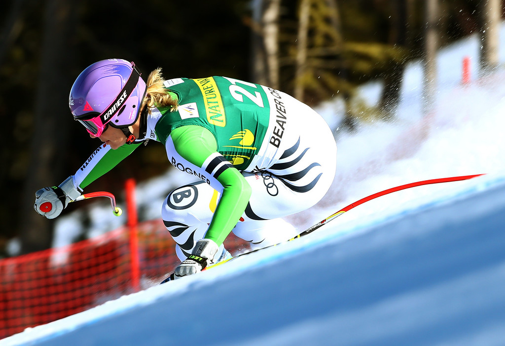 . Germany\'s Maria Hoefl-Riesch races down the course during the women\'s World Cup Downhill skiing event, Friday, Nov. 29, 2013, in Beaver Creek, Colo. (AP Photo/Alessandro Trovati)