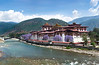 Dzong (fortress) at the confluence of the mother and father rivers, Bhutan